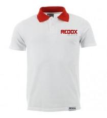 Polo REDOX blanco escote rojo