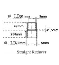 51-70mm Longitud 330mm - Reductor recto de silicona resistente de hidrocarburos - REDOX